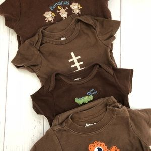 Other - BOYS 9MO 4PC BROWN ONESIE BUNDLE